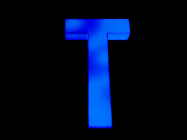 blue neon letter t