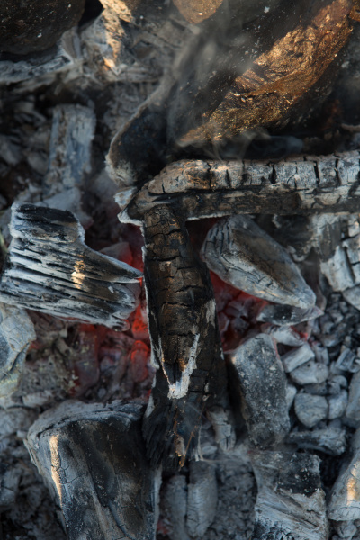 embers ashes in the barbecuehot burning