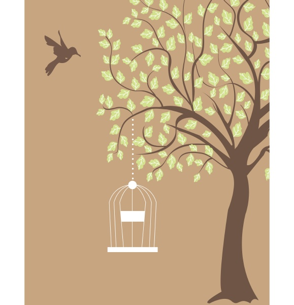 bird cage hanging from branch invitation