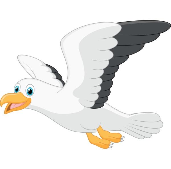 cartoon smiling seagull on white background