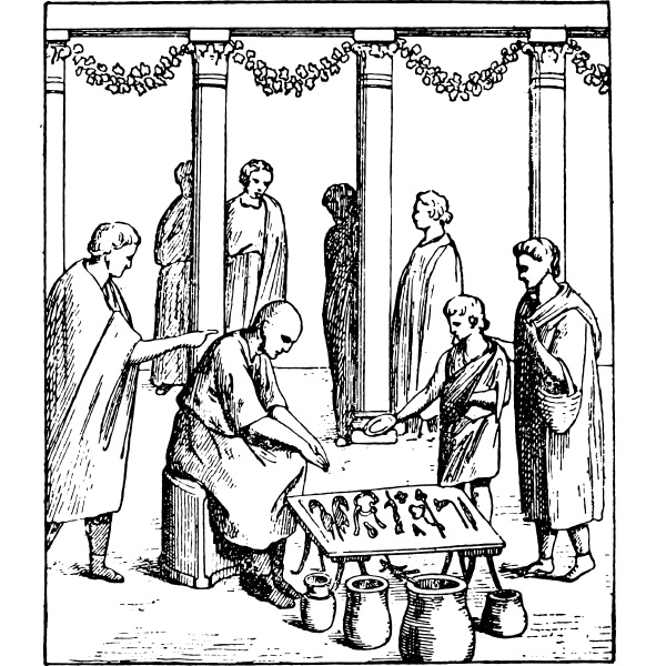 small merchants vintage engraving