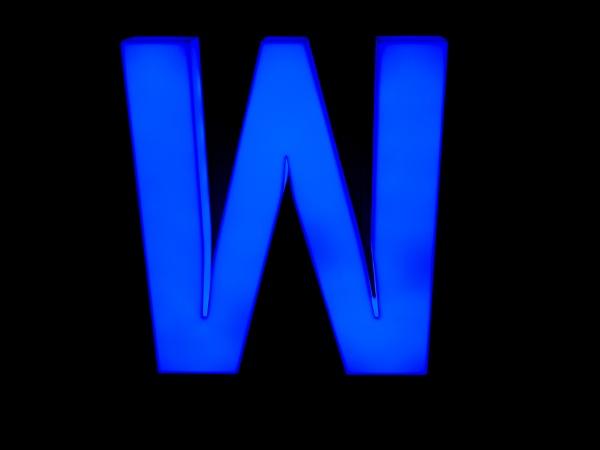 blue neon letter w