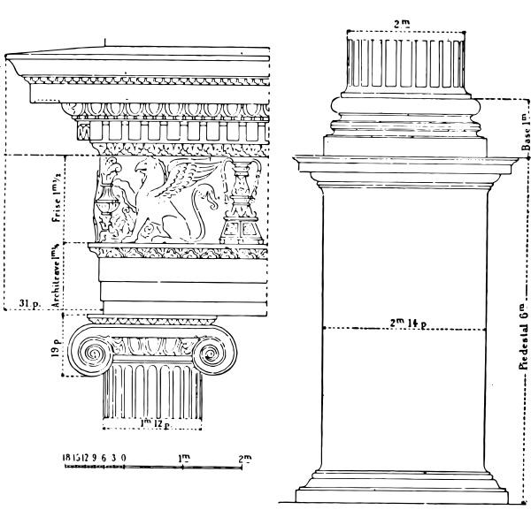 ionic order vintage engraving