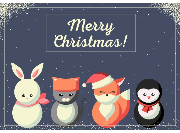 christmas, card, with, cute, animals - 27623593