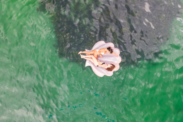 aerial view of two attractive girls