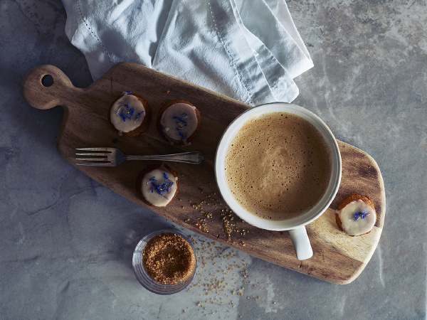 cup of coffee and cookies on