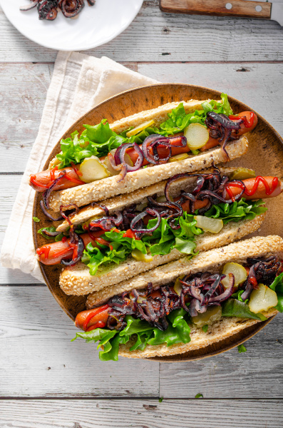 hot dog with red onion