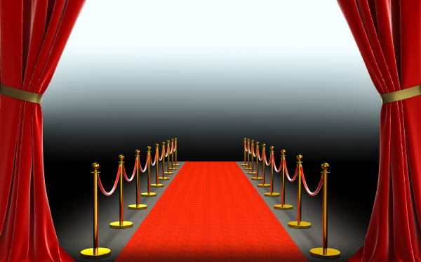 red curtains and carpet with barriers