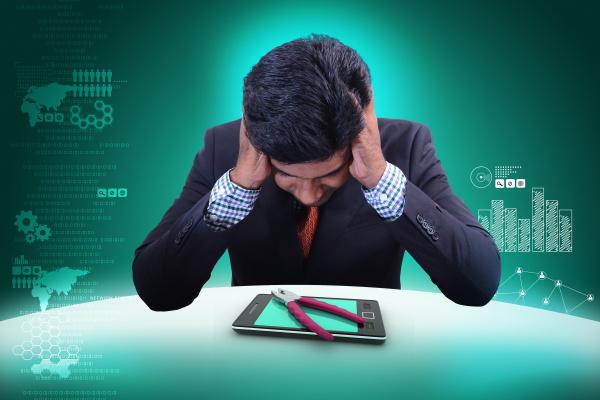 business man with smart phone repair