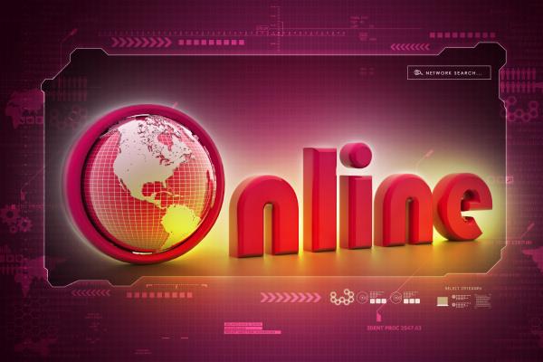on line illustration with globe