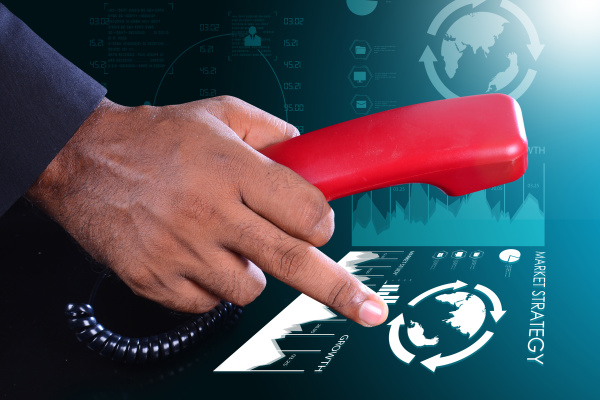man hand with telephone communication