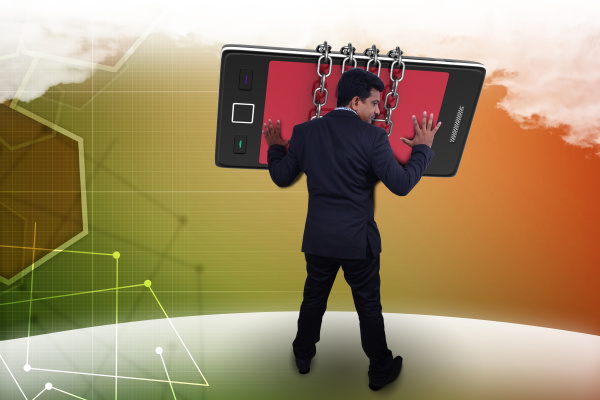 man hand with smart phone communication