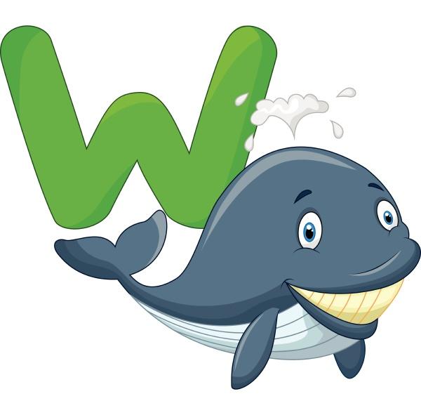 cartoon whale with alphabet w