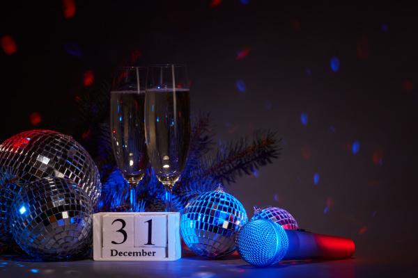 champagne flutes disco balls fir