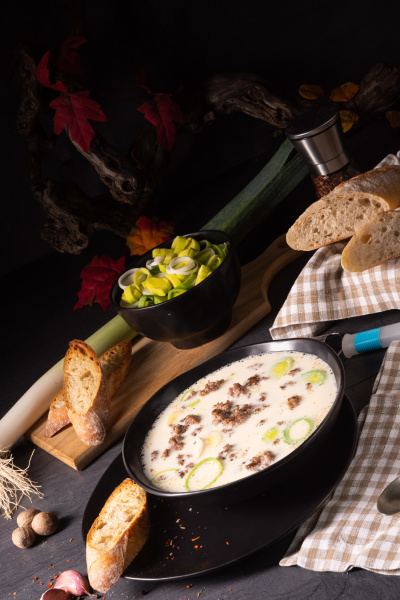 delicious cheese and leek soup with