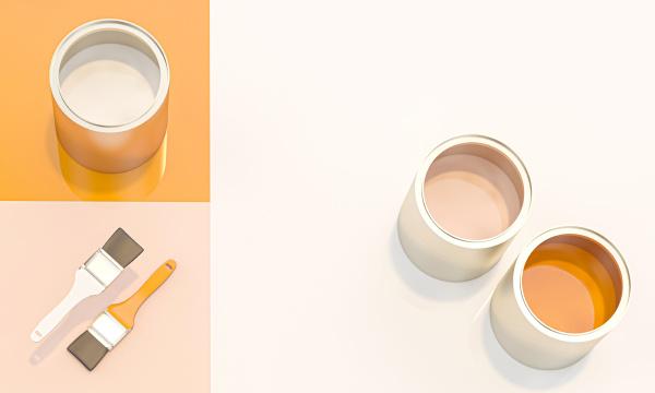 3d render image of paint cans