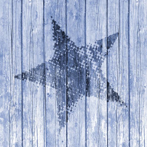 blue grunge star on old wood