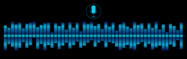 blue voice recognition with a microphone