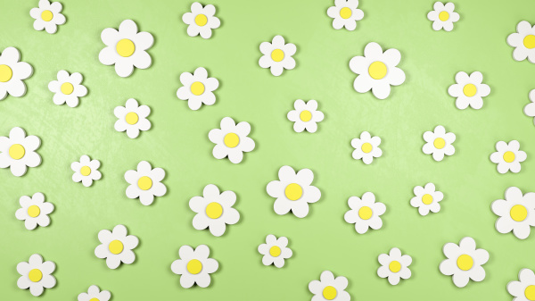 daisy flower shapes on green background