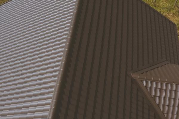 brown metal tile on the roof