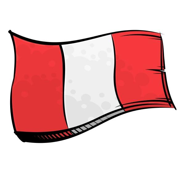 painted peru flag waving in wind
