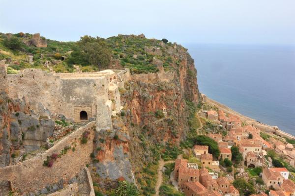 ancient greek town monemvasia at coast