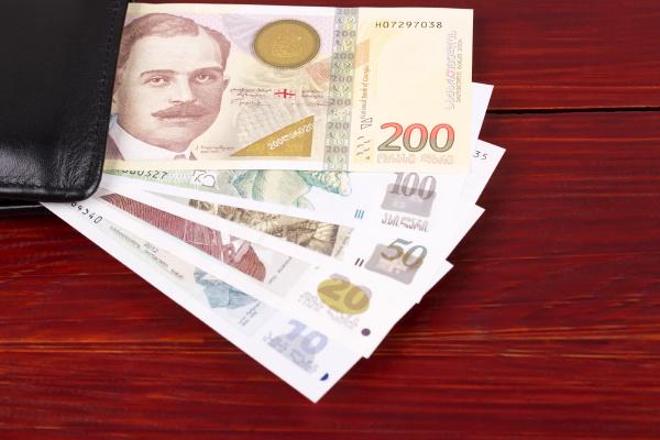 georgian lari in the black wallet