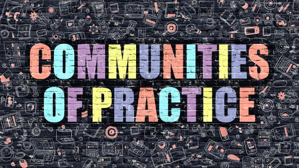 communities of practice in multicolor doodle