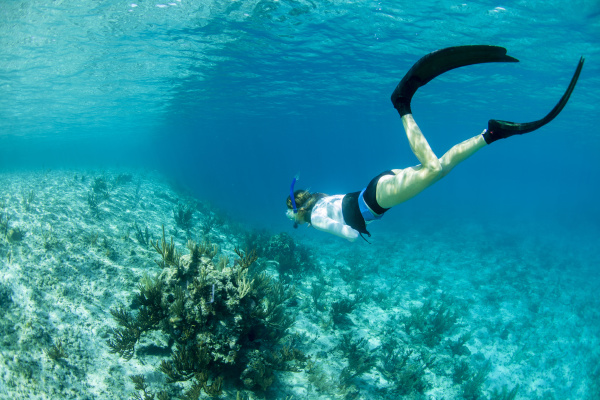 woman snorkeling above a coral reef