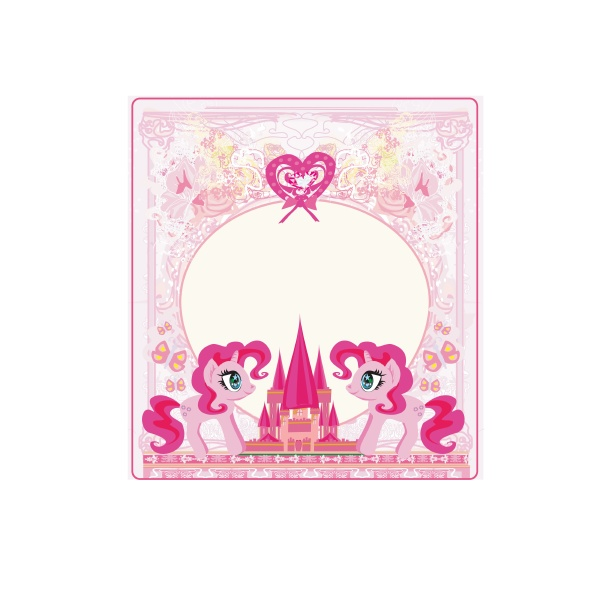 fairytale frame with magic castle and