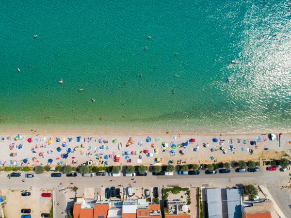 aerial view of people enjoying summer