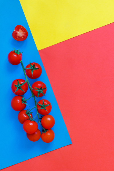 cherry tomatoes on a blue