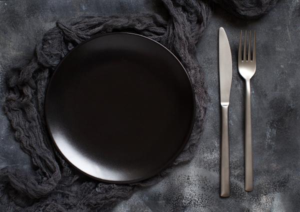 black plate on a dark background