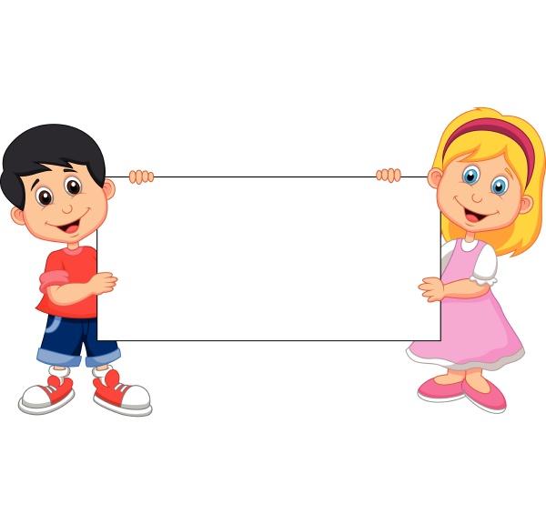 kid cartoon with blank sign
