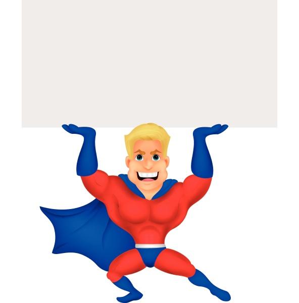 superhero cartoon with blank sign