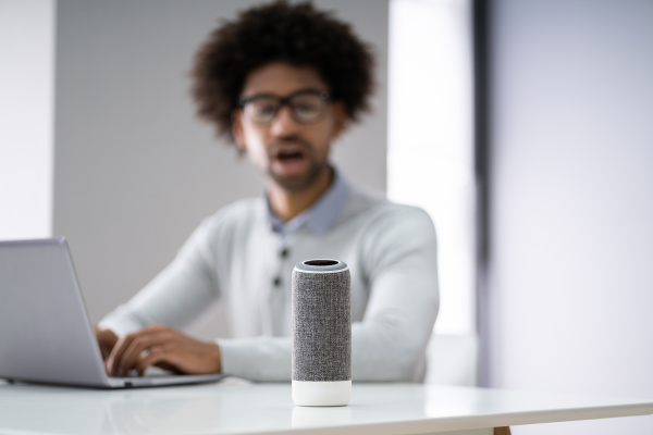 man listening to music on wireless
