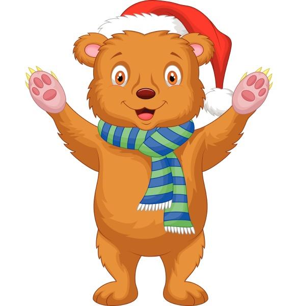 cute brown bear cartoon wearing red