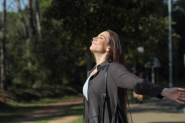 profile of a relaxed woman breathing