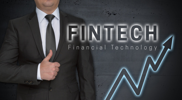 fintech concept and businessman with thumbs