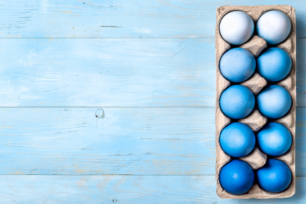blue ombre eggs as easter concept