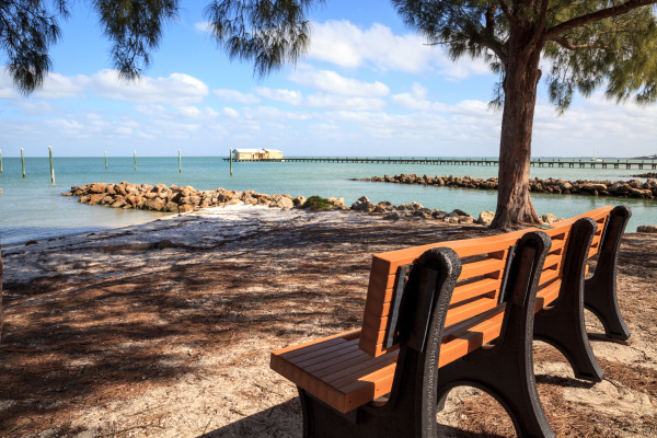 bench overlooks the anna maria island