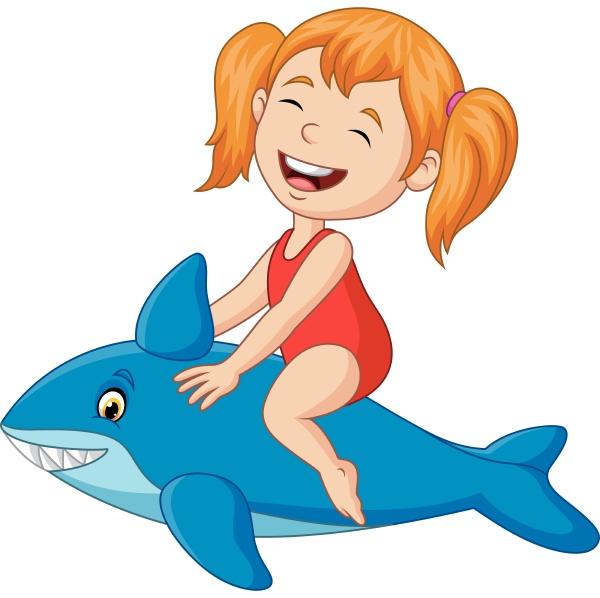 cartoon little girl riding inflatable shark