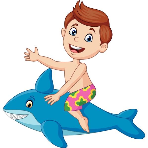 cartoon little boy riding a inflatable