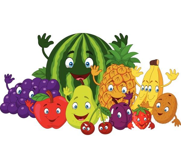 set of various funny cartoon fruits