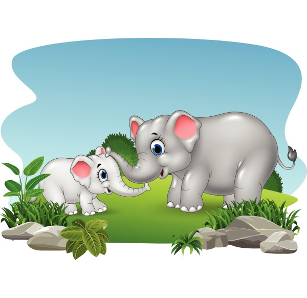 cartoon mother and baby elephant in