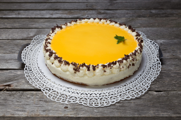 eggnog cake on gray wooden background