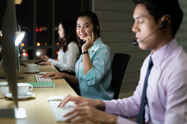 call center working at night