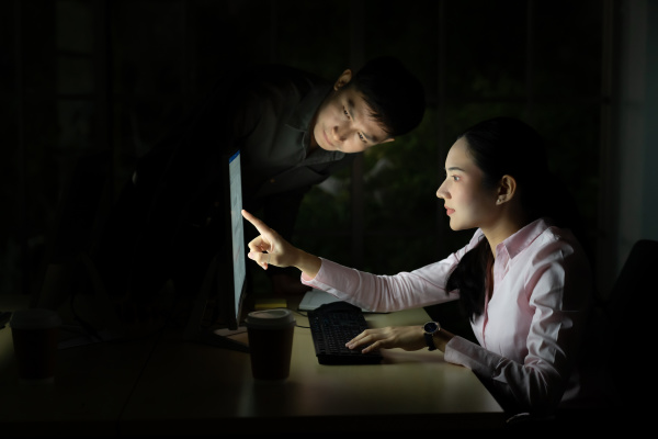 teamwork working late at night