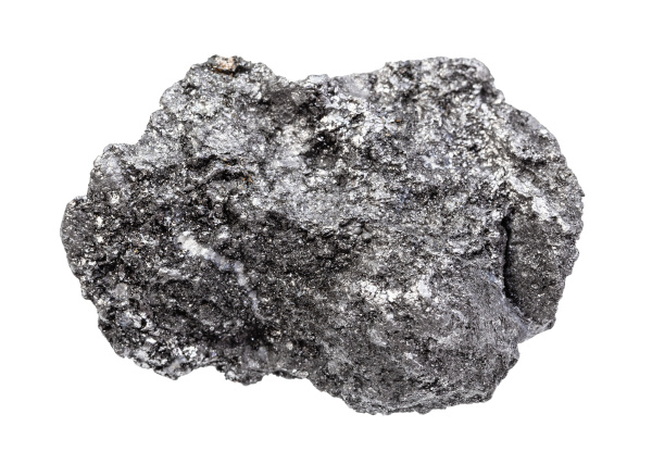 rough graphite rock isolated on white