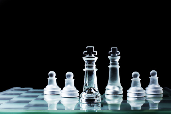 confrontation chess king standing against